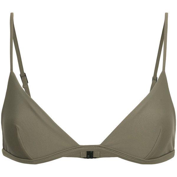 Matteau petite triangle bikini top (155 CAD) ❤ liked on Polyvore featuring swimwear, bikinis, bikini tops, grey, triangle bikini top, triangle swimsuit top, petite swimwear, swim suit tops and gray bikini