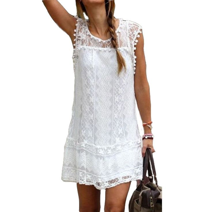 Summer Sexy Women's Casual Sleeveless Beach Short Solid White or Black Mini Lace Dress S-5XL