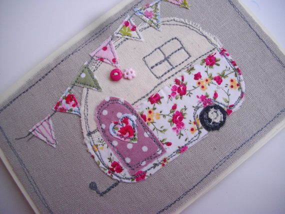 Handmade Machine Embroidered Card Retro Caravan Design on Linen, Birthday Card ,