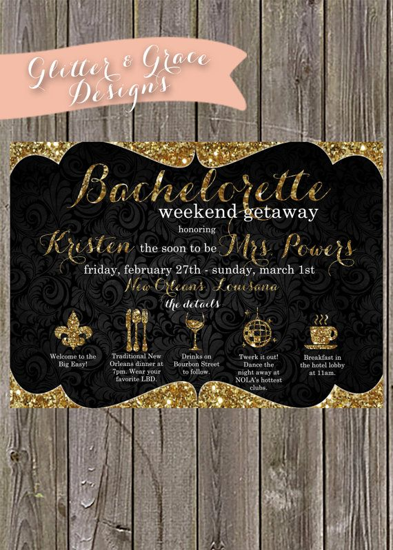New Orleans Weekend Bachelorette Invitations - Bachelorette Weekend Invitation, Bachelorette Timeline Invitation