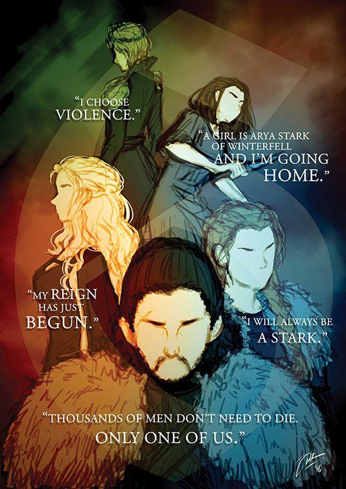 Cersei, Arya, Dany, Sansa, Jon - rhythm-diary on tumblr