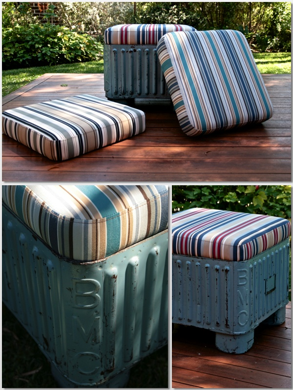 Redesigned British Motor Corporation containers, now fabulous outdoor seating
