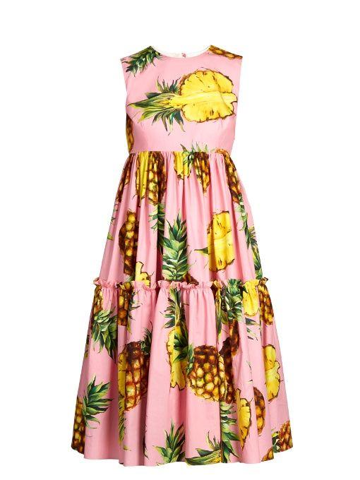 DOLCE & GABBANA Pineapple-print tiered poplin dress. #dolcegabbana #cloth #dress