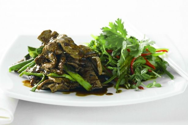 Hoisin beef strips with snowpea sprout salad main image
