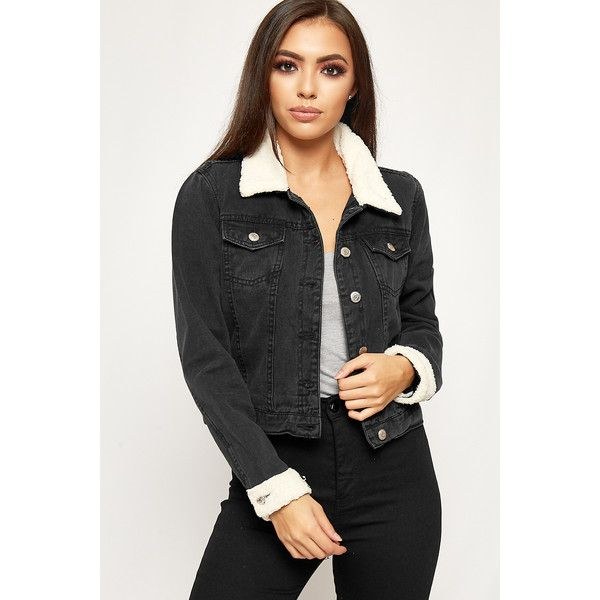 WearAll Borg Fleece Lined Cropped Denim Jacket (465 SEK) ❤ liked on Polyvore featuring outerwear, jackets, black, fur jacket, fur jean jacket, fur denim jacket, cropped jean jacket and fleece lined jean jacket