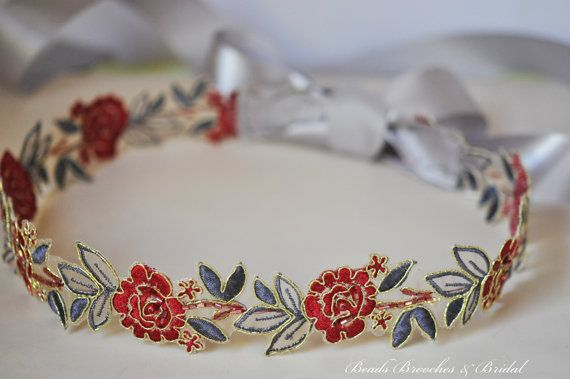 Red & Gray Embroidered Flower Lace Sash Red by BeadsBroochesBridal