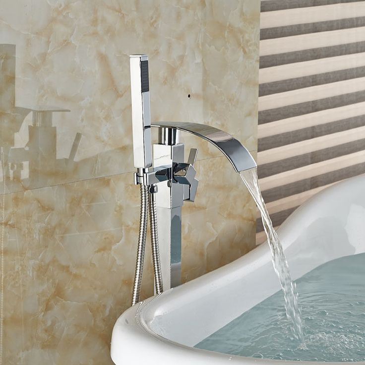 floor mounted bath tub faucet chrome tub filler mixer tap w abs hand shower