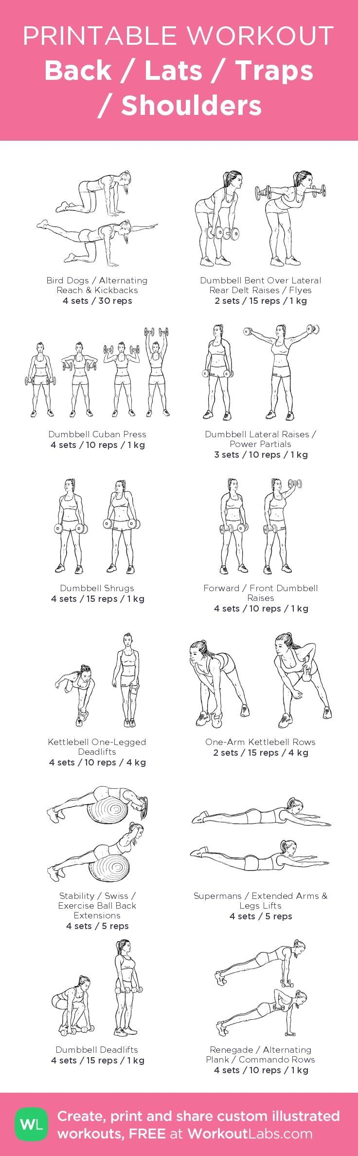 Back / Lats / Traps / Shoulders\u2013 my custom exercise plan created at http://WorkoutLabs.com \u2022 Click through to download as a printable workout PDF #customworkout #totalbodytransformation
