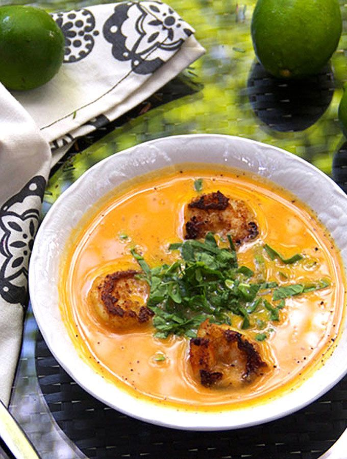 Zesty spice-crusted shrimp in a creamy broth of coconut milk, lime, and sweet potatoes. Delicious Coconut Sweet Potato Soup with Spicy Shrimp from Vanuatu.