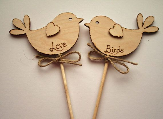 Love Birds Rustic Wedding Cake Topper Bird Cake by Melysweddings, £8.50