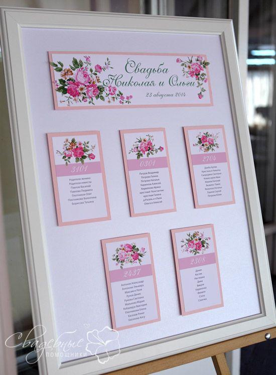 план рассадки гостей с розовыми цветами