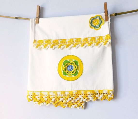 Traditional Baby bedding set for crib, top sheet & pillowcase with sophisticated crochet, gift for baby, colorful limon yellow olive green