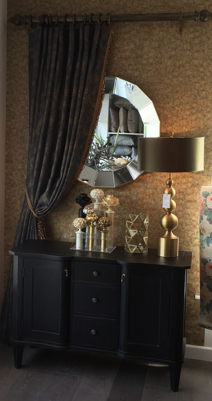 Anthology wallpaper by harlequin with black edition curtain cartridge pleat. Calico's new display