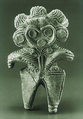 Dogu in the shape of an eared owl. Japanese ceramin firgurine.