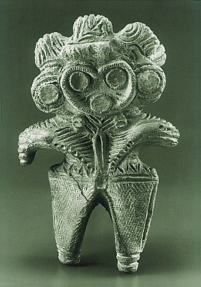Dogu in the shape of an eared owl. Japanese ceramin firgurine.