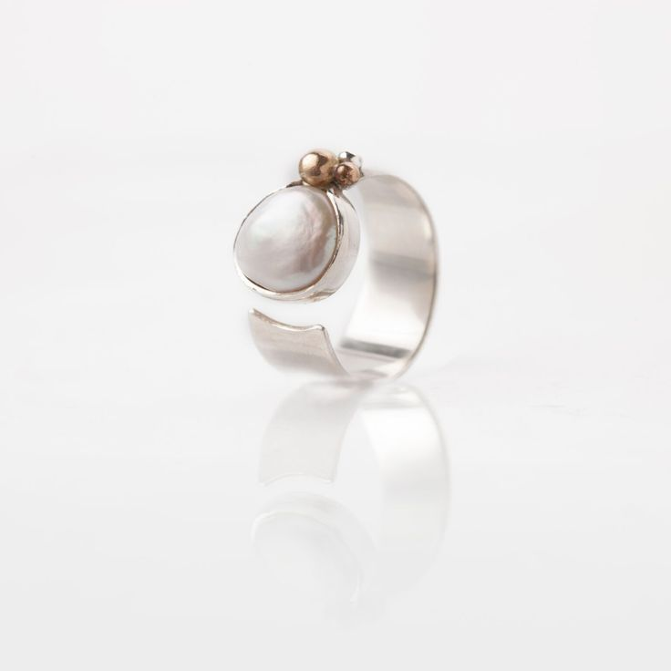Silverring with freshwater Pearl -sommerdesign.dk