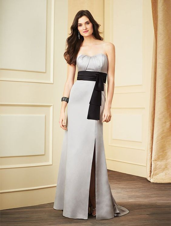 Slit Sweep Train Skirt Strapless Bridesmaid Gown - 30 Most Classy Silver Bridesmaid Dresses - EverAfterGuide