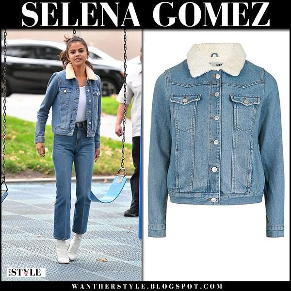 Selena Gomez in denim jacket, cropped jeans and white boots