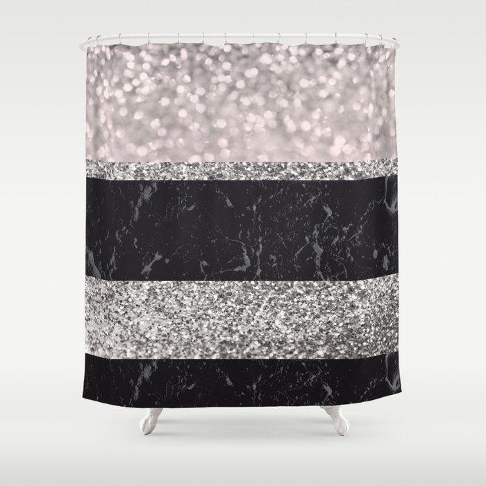 Gray Black Marble Glitter Stripes Glam 1 Shiny Decor Art