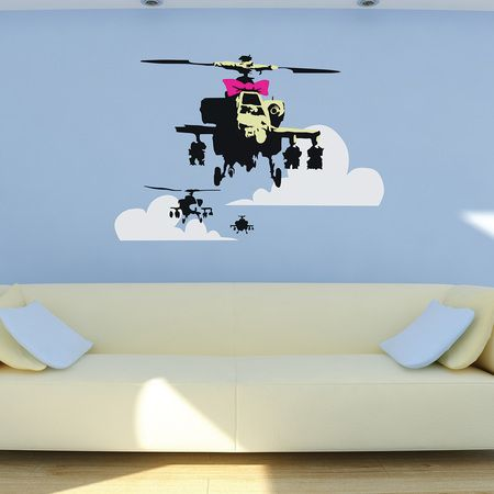Create an amazing talking point with a removable wall sticker: this one is a Banksy Apache helicopter.