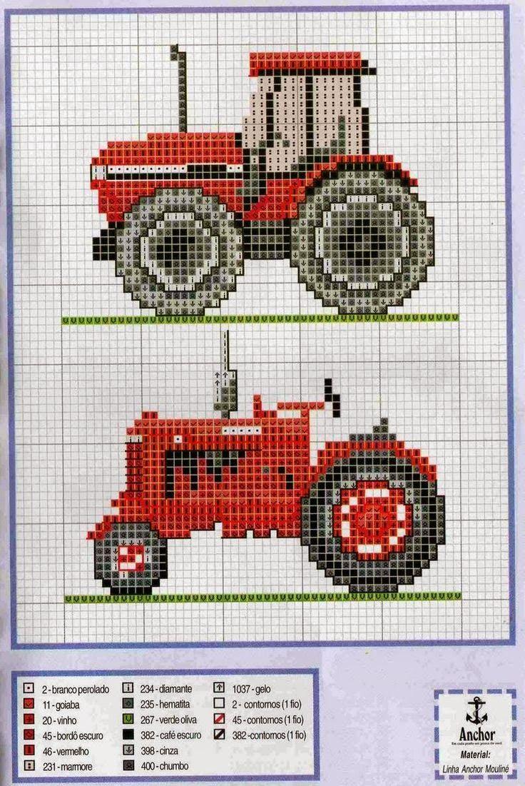 schema punto croce trattore | Hobby lavori femminili - ricamo - uncinetto - maglia