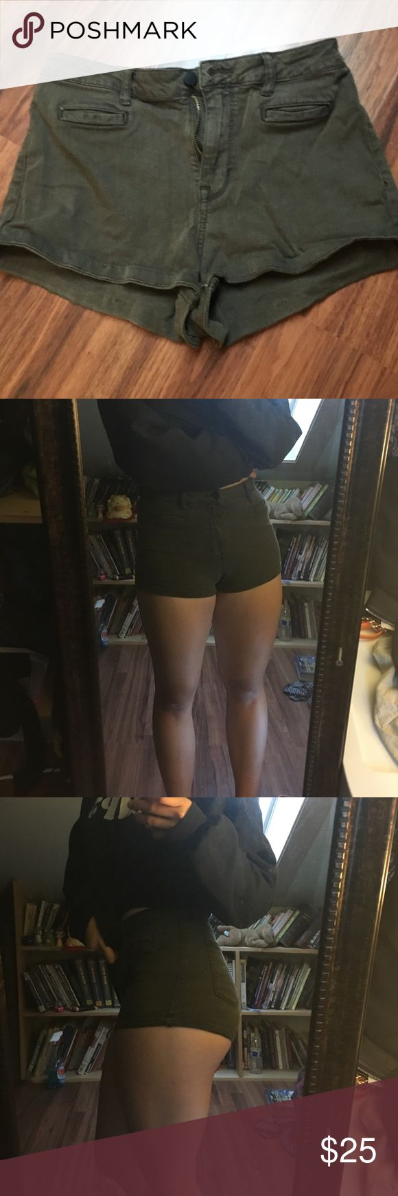 Swamp green shorts/super high rise Tight (probably cuz i have big legs) will most likely show part of your buttcheek, and high waisted PacSun Shorts Jean Shorts