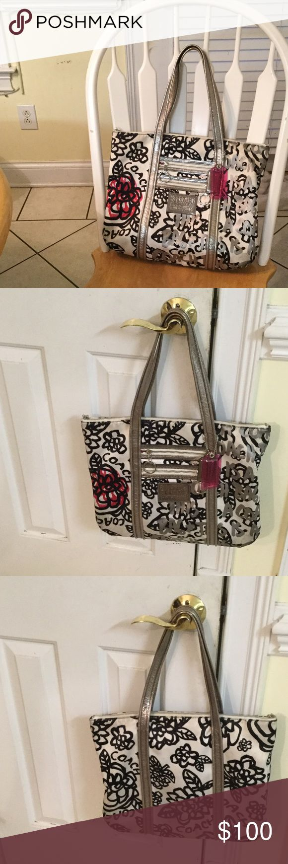Coach Poppy Graffiti Tote Good condition large tote #14741 Coach Bags Totes