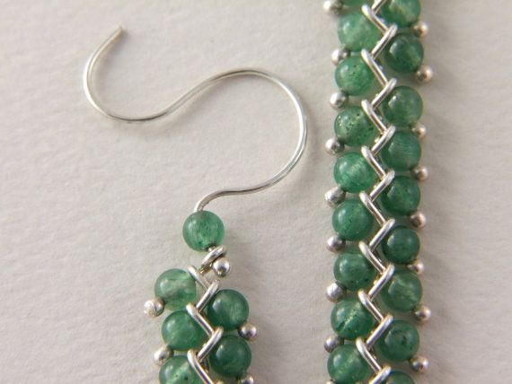 Sterling Stone Bead Earrings, Long Dangle Chain, Beadwork Earrings, Semi Precious Green Aventurine Stone, Translucent Beads, Ethnic Style