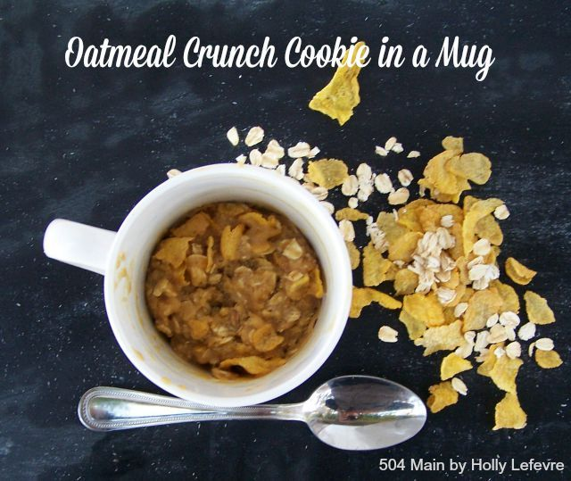 how to make an oatmeal crunch cookie in a mug - it takes no time at all for a delicious treat! by 504 Main