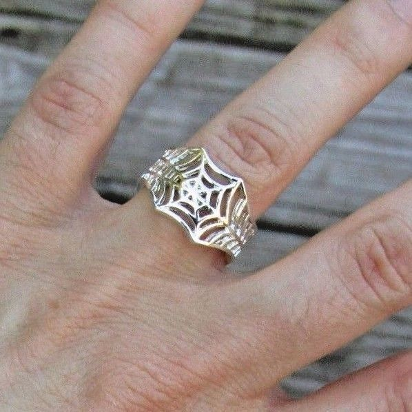 Spider Web Ring - Adjustable Wrap Ring - Silver Pet Animal Halloween Jewelry