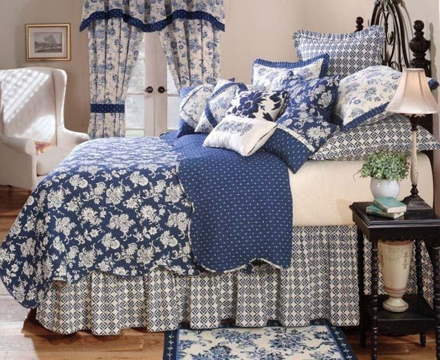 Stafford Royal Navy Blue Full Queen Quilt Set Williamsburg White Toile | eBay