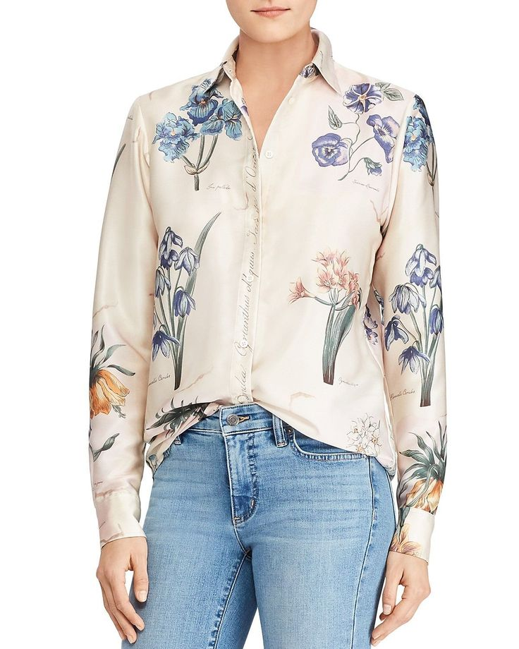 Ralph Lauren Floral Script Blouse from Bloomingdales – $89 | Spring 2018 trends | Women's fashion | Spring Fashion | Sophisticated women's fashion | Fashion over 40 | Fashion over 50 | Clothes for women over 50 | Clothes for women over 60 | #womensfashionclothingover50