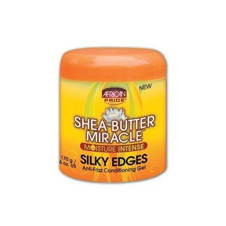 Shea Butter Miracle Moisture Intense Silky Edges - African Pride Booste la brillance et hydrate intensément. Elimine les frisottis et les mèches rebelles.