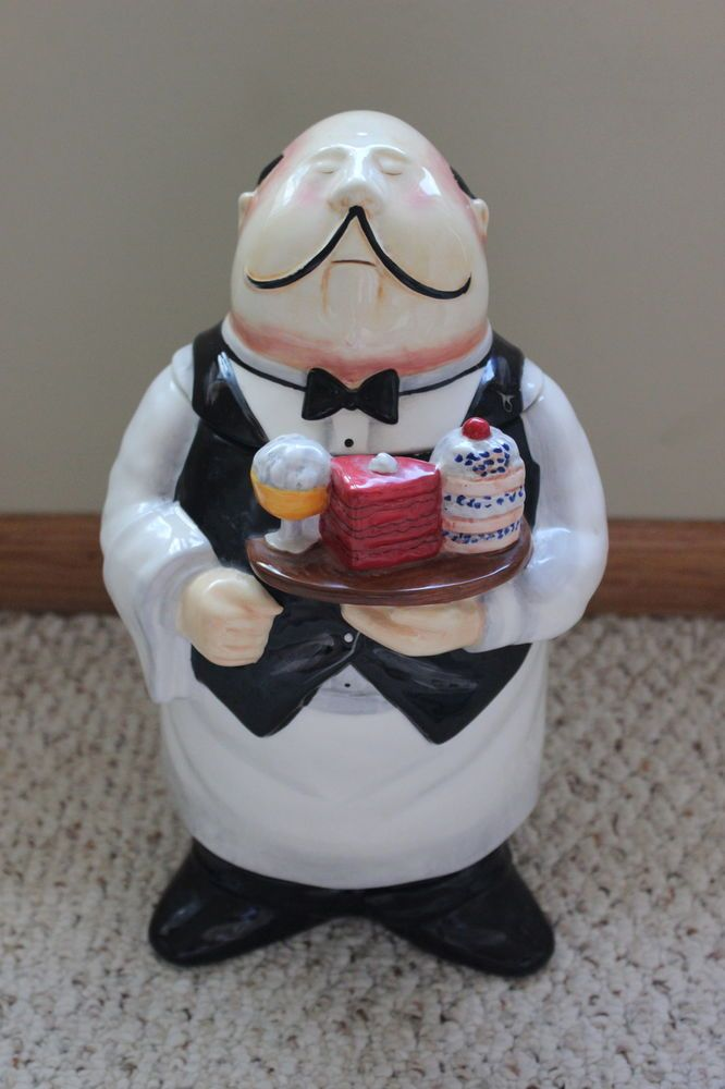tracy flickinger chubby waiter cookie jar