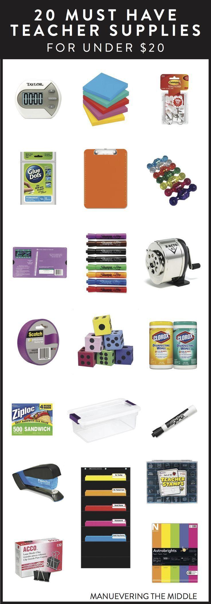 20 Teacher Supplies Under $20 - Must have school supplies to stock your classroom. | http://maneuveringthemiddle.com