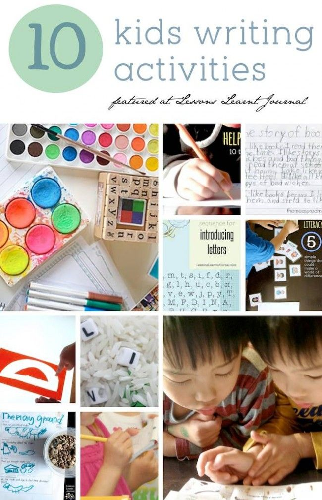 10 kids writing activities and parent tips to encourage writing. Good collection of learning to write through play - love it!