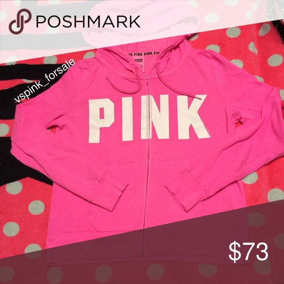 VS PINK Full-zip Hoodie New in online packaging. PINK logo. True to size fit. Neon pink color.  No trades. I accept reasonable offers 💜 I have this listed for less on Ⓜ️ercari Use code FWXENR when you sign up for $2 off first purchase 💗 Search vspink_forsale to find my closet 😊 PINK Victoria's Secret Sweaters