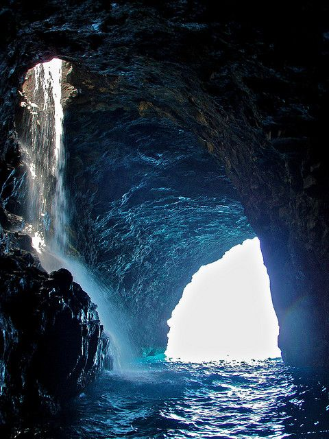 A great memory of Kauai Caves. This one has a waterfall inside. Cool!