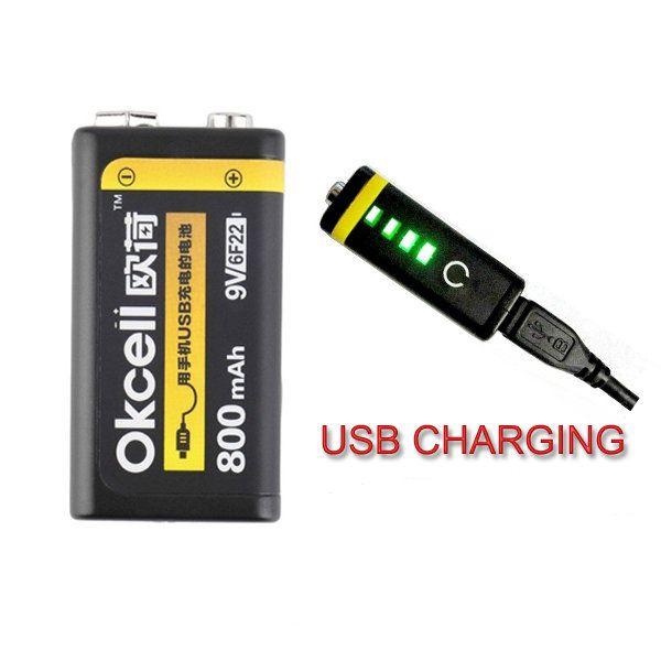 Okcell 9v 800mah usb batterie lipo rechargeable pour le modèle d'hélicoptère rc microphone Vente - Banggood.com