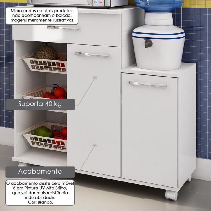 Balcão Fruteira para Micro-ondas e Bebedouro - 2 Portas 1 Gaveta - Pintura UV Alto Brilho Branco