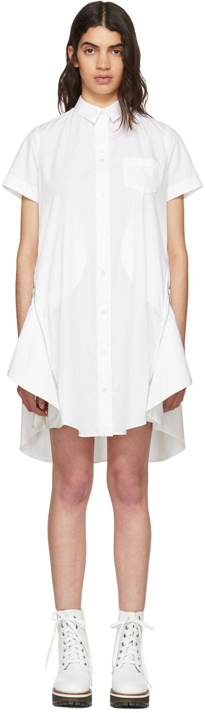 Sacai - White Poplin Dress