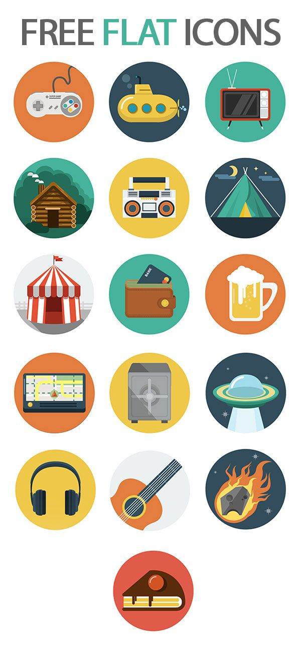 Beautiful Free Flat Icons Set