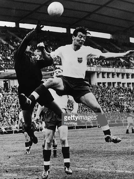 Johnny Haynes the England insideleft in a tussle w…