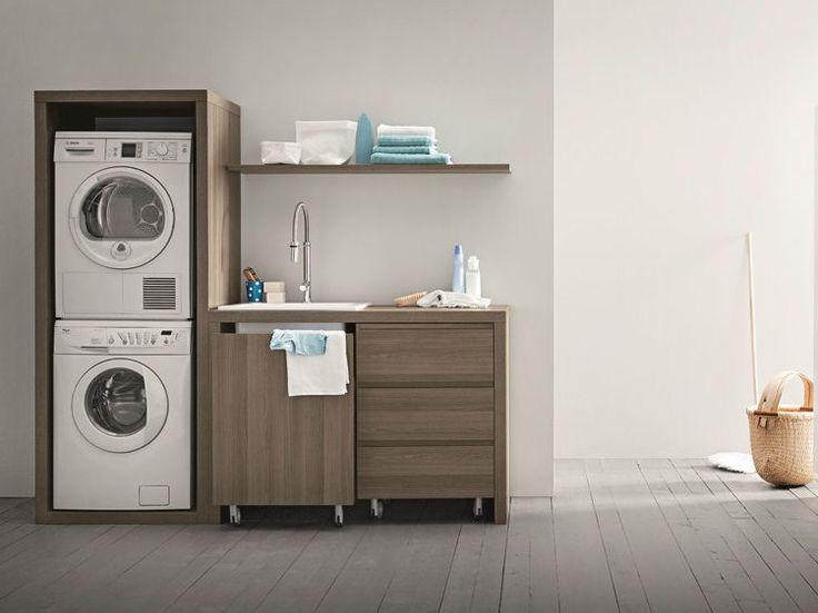 Waschküche-Schrank aus Ulme mit integriertem Waschbecken für Waschmaschine IDROBOX   Waschküche-Schrank aus Ulme - Birex