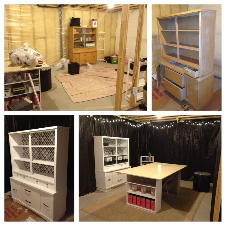 my unfinished basement converted craft space before after pinterest inspired 20. Black Bedroom Furniture Sets. Home Design Ideas
