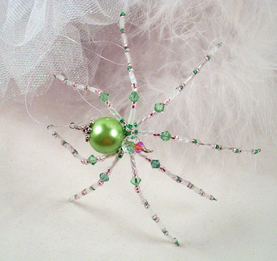 Light Green and Pink Christmas Spider Ornament by Thespiderlady, $8.00