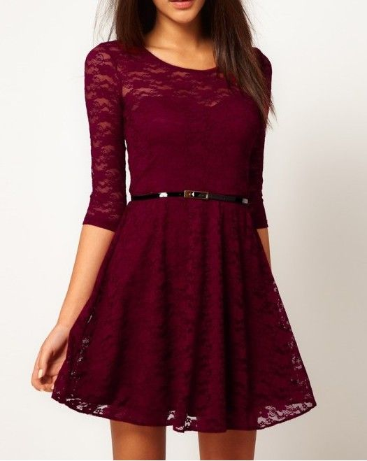 Fashion Lace Stitching Round neck long-sleeved dress with belt - Dark Red maroon