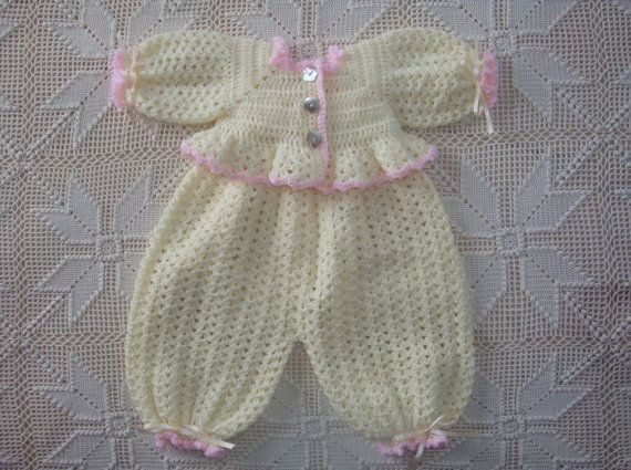 Crochet Cream with Pink Ruffles Infant Bubble Suit and Sweater