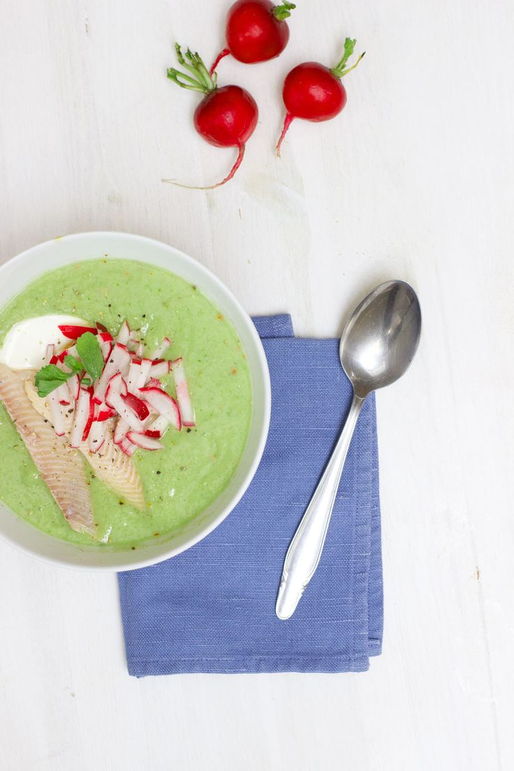Healthy Home Office Lunch: cucumber and avocado cold soup with mint, radish and trout