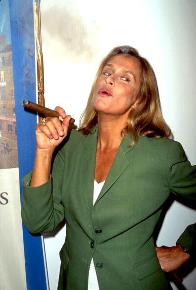 Lauren Hutton smoking cigar, 1988